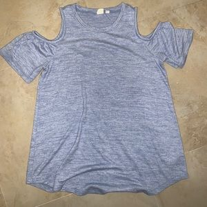 Cold shoulder maternity blue shirt